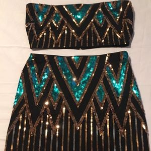 Fashion Nova Black and teal Skirt set
